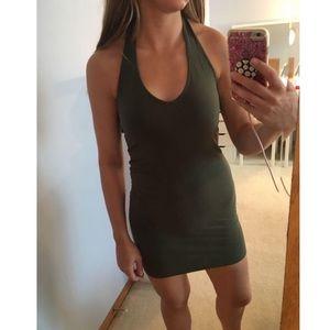 Olive green halter bodycon dress